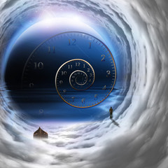 Man with boat in time tunnel