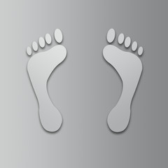 Foot prints on a gray background. Raster graphic image.