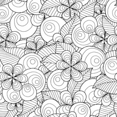 Seamless asian ethnic floral retro doodle black and white pattern in vector. Background with floral elements. Can be used for wallpaper, pattern fills, coloring books and pages for kids and adults.