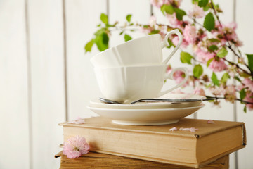 Porcelain cups with books and flowers on white background