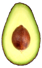 Avokado split in half on white background
