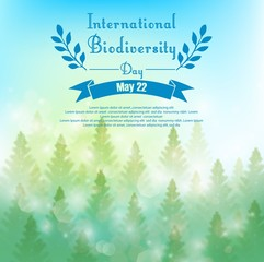 Biodiversity background with palm trees and ribbon
