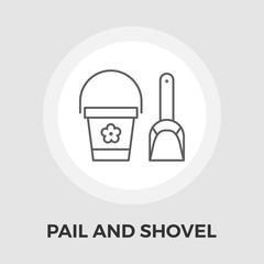 Pail and shovel vector flat icon