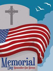 Tombstone in Honor of Fallen Heroes in Memorial Day, Vector Illustration