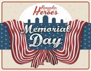 Commemorative Retro Design for Memorial Day, Vector Illustration