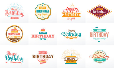 Happy Birthday typographic set. Vector design.