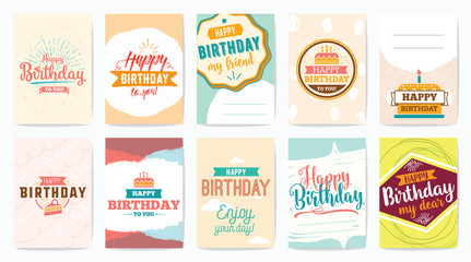 Happy Birthday greeting cards set. Vector design.
