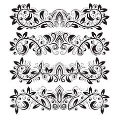 Design ornamental elements and vintage headline decorations set.
