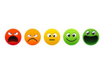 Set of Emoji. Isolated vector illustration on white background