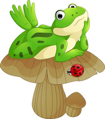 cartoon frog laying down on the mushroom