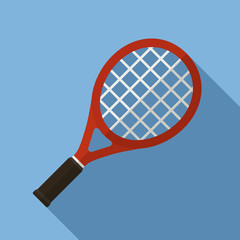 Vector illustration. Icon of toy tennis racket in flat design with shadow effect