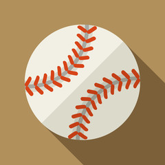 Vector illustration. Icon of toy leather baseball ball in flat design with shadow effect