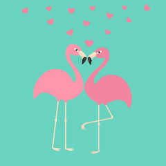 Two pink flamingo couple in love. Hearts. Exotic tropical bird. Zoo animal collection. Cute cartoon character. Decoration element. Flat design. Blue background. Isolated.