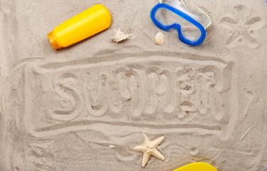 inscription on the sand - summer