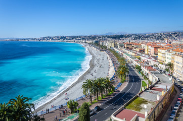 Wall Murals Nice Panoramic view on Nice city with mountains and azure sea