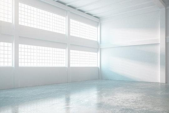 Bright hangar interior