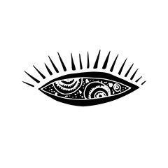Graphic element of eye reflecting cosmos. Suitable for fabric, texture, wallpaper. Vector Illustration