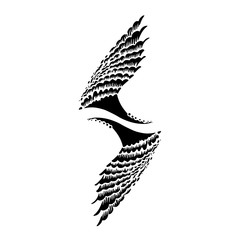 hand drawn wings with decorate graphic elements Vector Illustraton