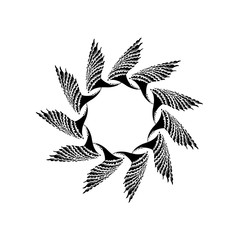 Hand drawn graphic symbol of Sun with elements of wings. Used by ancient Slavs. Vector Illustration