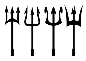 Vector black trident icons set