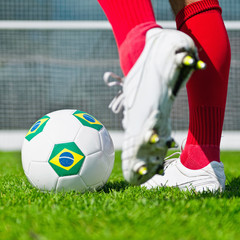 Brazil soccer ball, penalty kick
