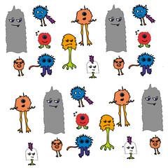 vector set of happy children cartoon monsters