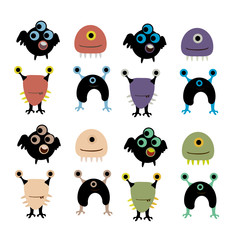 vector set of happy children cartoon monsters