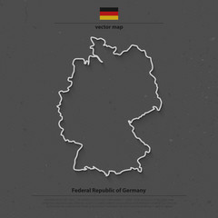Federal Republic of Germany map outline and official flag icon over grunge background. vector German political map 3d illustration. European State geographic banner template. Deutschland