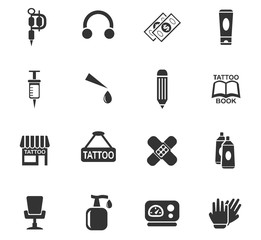 tattoo salon icon set