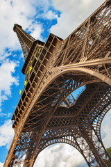 The Eiffel Tower in Paris shot against blue sky, France
