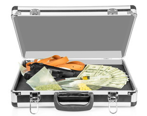 Case with money, guns and drugs isolated on white.