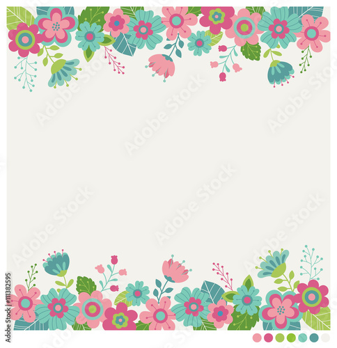 Cute flowers border vector for invitation wedding greeting card cute flowers border vector for invitation wedding greeting card design m4hsunfo