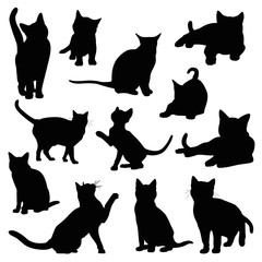 cat silhouette set