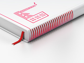 Manufacuring concept: closed book, Industry Building on white background