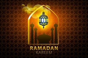 Islam, arabic, muslim background in arch. Vector Sunset sky, clouds. Celebration card for Eid Ul Adha festival, Ramadan Kareem, holiday template. Mosque, minaret,