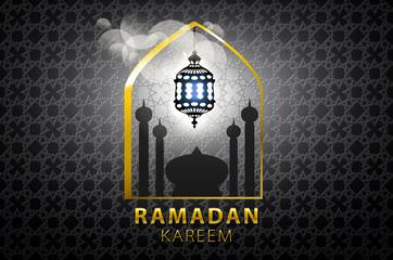 Islam, arabic, muslim background in arch. Vector Sunset sky, clouds. Celebration card for Eid Ul Adha festival, Ramadan Kareem, holiday template. Mosque, minaret, Crescent. Vintage Illustration.