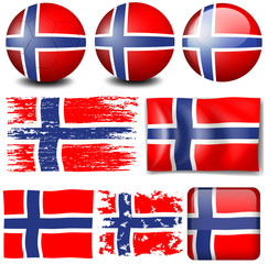 Norway flag on different objects