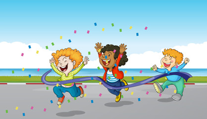 Three boys running through finish line