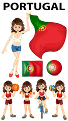 Portugal flag and woman athlete