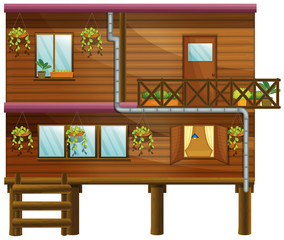 Wooden house with two stories