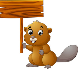 cartoon beaver holding blank sign