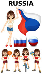 Russia flag and woman athlete