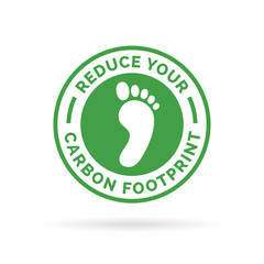 Reduce your carbon footprint icon symbol with green environment footprint badge. Vector illustration.