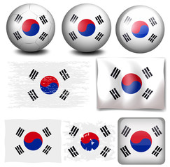 South Korea flag on different objects