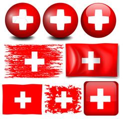 Switzerland flag on different items