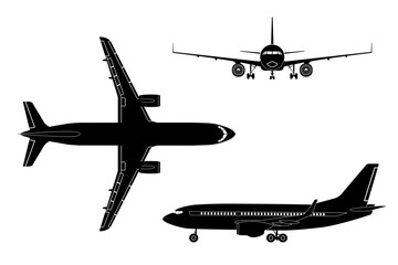 Black airplane silhouette on a white background. Top view, front