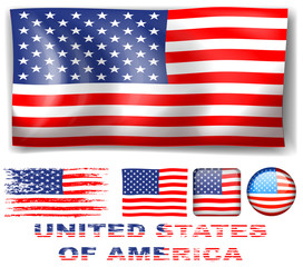 Different designs of United Stated of America flag