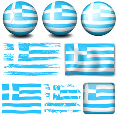 Greece flag in different designs