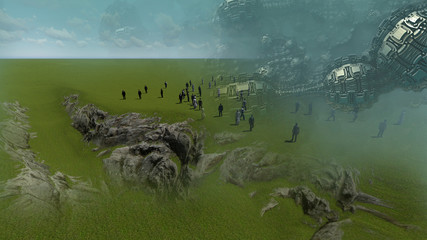 abstract  composition with landscape  made in 3d software