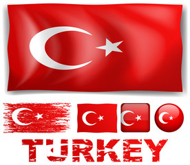 Turkey flag in different designs